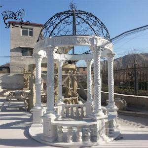 China BLVE Marble Garden Pavilion Round Stone Gazebo White Outdoor Metal Roof wholesale