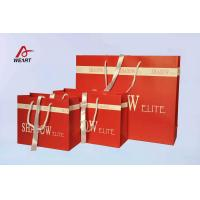 China Red Art Paper Bags / Colored Paper Gift Bags Middle Hole Glued White Ribbon wholesale