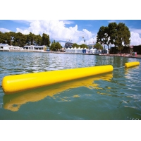 China Customize Floating 0.9mm PVC Yellow Inflatable Long Cylinder Buoy Tube For Water Park wholesale