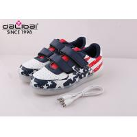 China American Flag Low Cut Childrens LED Shoes Remote Control / USB Charging wholesale