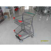 China Two Layer Basket Wire 4 Wheel Shopping Trolley / Cart With Color Poweder Coating wholesale