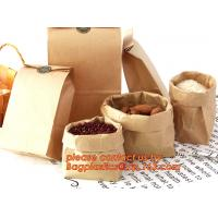 China 70g food grade brown kraft paper bag with customized logo printing, Pinch Bottom Paper Bag, Greaseproof Paper Bag with L on sale