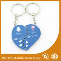 China Blue Personalized Heart Keychain Custom Metal Keychains For Birthday Keyring wholesale