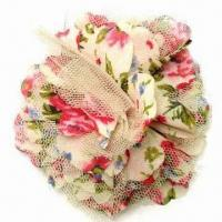 China Elegant flower brooch, made of mesh and chiffon for garment decoration, with brooch pin at back wholesale