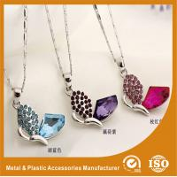 China Red / Black / Blue Metal Chain Necklace , Butterfly Pendant Necklace wholesale