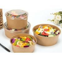 China Vegetable Kraft Paper Bowls With Lids , PE Coating Disposable Paper Bowls on sale