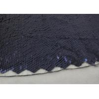 China Navy Sequin Mesh Fabric , Embroidered Lace Fabric By The Yard For Evening Dresses wholesale