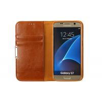 Brown Galaxy S7 Leather Phone Cases Scratch Proof With Magnet / Card Pocket