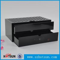 China Custom made acrylic storage box cost-effective black acrylic box with two drawer wholesale