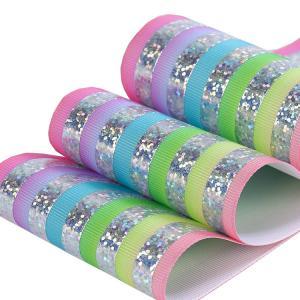 China Customized Glitter Grosgrain Ribbon , Soft Feeling Glitter Wired Ribbon wholesale