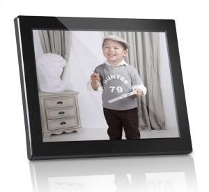 China Plastic 12 inch Digital Photo Frames Motion Sensor With Calendar / Clock wholesale