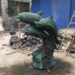 China Bronze Dolphins Statue Garden Brass Animal Metal Sculpture Fountain Outdoor Decoration wholesale
