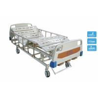 China Medicare Adjustable Double Crank Manual Hospital Bedding with Wheels and Rails wholesale