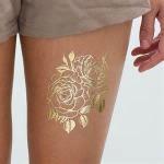 Golden Flower Design Fake Body Tattoo Sticker Art For Decoration