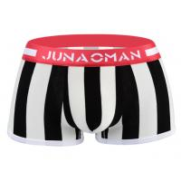 Stripe Design Mens Trunk Underwear Low Rise With Jacquard Weave Logo