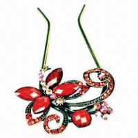 China Fashionable beautiful red butterfly hairpins with alloy and color acrylic stone on sale