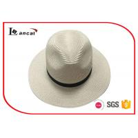 China Natural Color Wide Brimmed Straw Hat , 100% Paper Plait Ladies Summer Hats With Black Band wholesale