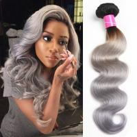 China Two Tone Body Wave Weave , Thick 40 Inch Grey Ombre Hair Weave Durable wholesale