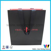 China Matt Black Printed Paper Shopping Bags , Paper Bag With Two Sides Printing wholesale