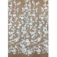 China Ivroy Color French 3D Floral Lace Fabric , High End Wedding Lace Fabric By The Yard wholesale
