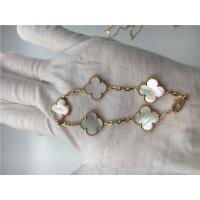 China Elegant 18K Gold Jewelry Vintage Alhambra Bracelet With White Mother Of Pearl wholesale
