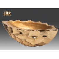 China Gold Leafed Fiberglass Flower Serving Bowl Decorative Table Vases Boat Shape wholesale