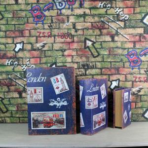 China Set of 3 Wooden Secret Book Storage Boxes Vintage Style Book Hidden Storage Trinket Box wholesale