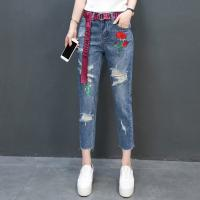 China Jeans Fashion holes Flowers Embroideried Cropped Trousers 100%Cotton Blue wholesale