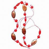 China Handmade Belt, Made of Wax Cord, Red Plastic Round Beads and Oval Coconut Discs wholesale