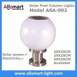 China LED Round Solar Pillar Lights White Globular E27 Solar Post Pole Column Light For Community Park School Garden wholesale