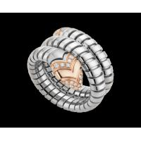 Bulgari Serpenti Tubogas ring in 18 kt pink gold, steel and pavé diamonds Ref. AN856666