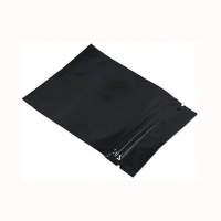 China Matte Black Small Aluminum Foil Smell Proof Powder Heat Sealable Flat Ziplock Bag Pouch on sale
