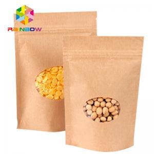 China Kraft Paper Mylar Ziplock Storage Bags With Window , Tea / Coffee Bean Packaging wholesale