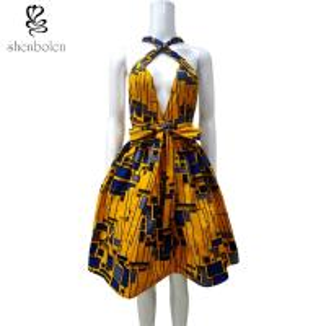 China Sleeveless V Neck African Print Summer Dresses Knee Length Ankara Fabric wholesale