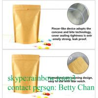 China Promotions Brown Kraft Paper Bags With Window / Doypack Heat Sealable Tea Bags on sale