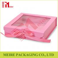 China Pink color folding gift box with clear window, magnet and ribbon clousre for baby girl clothing wholesale