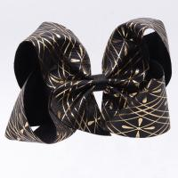 China Customized Hair Bow Ribbon Black Glitter Color Printed Technics For Girls wholesale