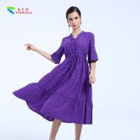 China Female Plus Size Cotton Summer Dresses Short Sleeve With Garment Dyed Technic on sale