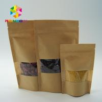 China Eco - Friendly Printed Paper Stand Up Pouches With Clear Window And Zipper wholesale