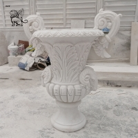 China Large White Marble Flowerpot Natural Stone Flower Urns Relief Handcarved Garden Decoration wholesale
