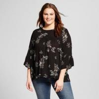 China Flare Sleeve Plus Size Ladies Babydoll Blouse Clothing Floral Print Multi Colors wholesale