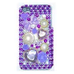 China Cute Purple Violet jeweled Rhinestone cases for iphone 4s / glitter phone cases for iphone 4s on sale