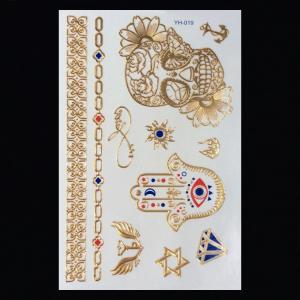 China metallic foil tattoo 3D gold foil tattoo flash tattoo wholesale