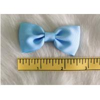 China Blue Fabric Polyester Grosgrain hair clip bow for girls headwear accessories wholesale