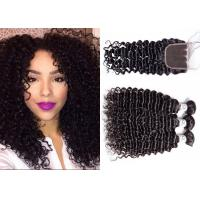 China Long Deep Curly Weave With Closure / Dyed Brazilian Remy Deep Curly Weave wholesale