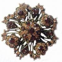 China Antique Brooch, Made of Metal Alloy, with Rhinestones wholesale