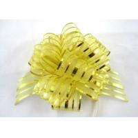 China Yellow Blue Pink Pom Pom Pull Bow , Organza Striped Ribbons with Long Tulle Tails wholesale