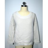 China Semi Combed Cotton Ladies Pullover Sweaters Cable Knitting Round Neck Knitwear wholesale