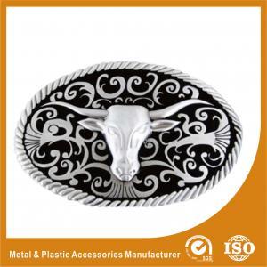 China Zinc Alloy Goat Head Cowboy Custom Belt Buckles Polishing , Powder Coating wholesale