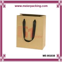 China Kraft Paper Bags with Flat Ribbon Handle/Carrier Shopping Paper Bag ME-BG038 wholesale